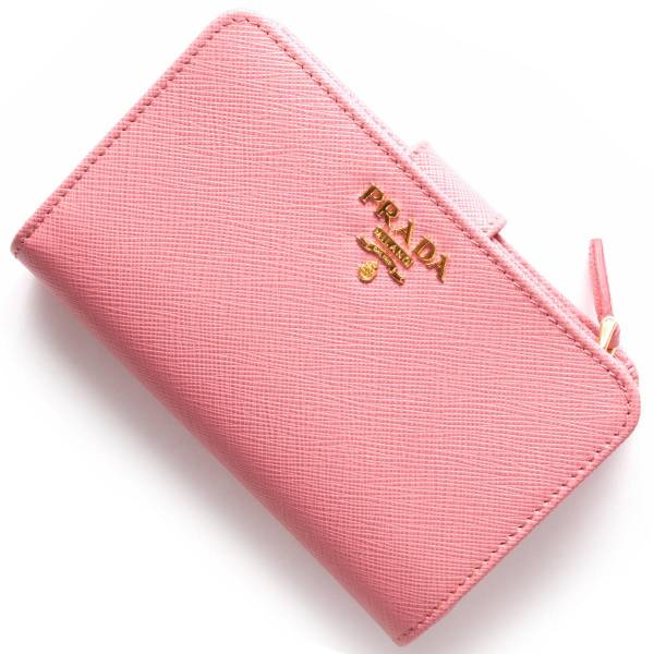 Prada 1ML225 Saffiano 倒三角標 Logo 二折短中夾  粉色