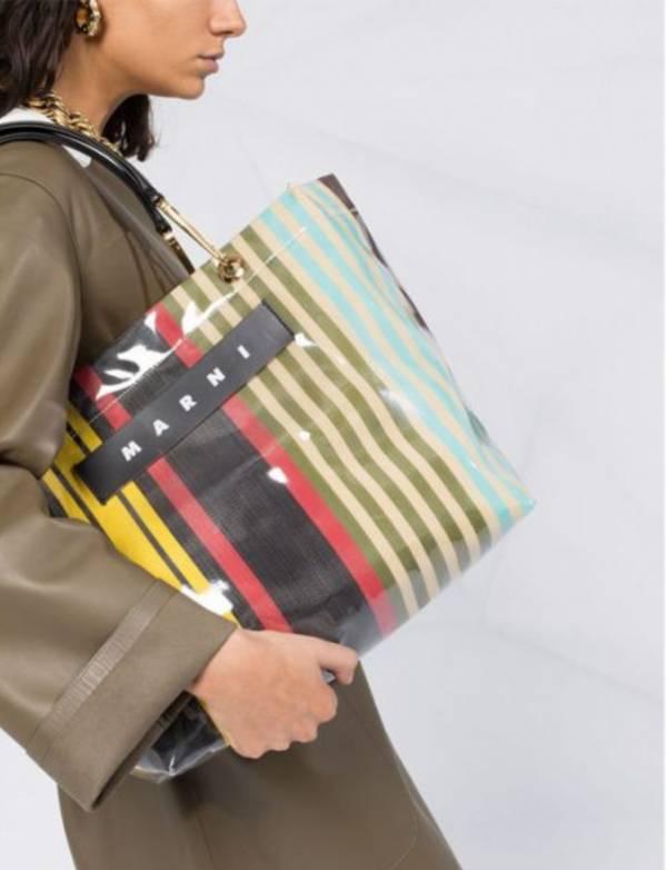 Marni 彩色條紋防潑水手提包