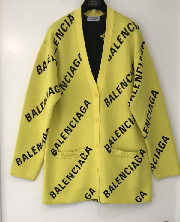 Balenciaga 女款黃色Logo混紡針織開襟衫上衣  XS/S