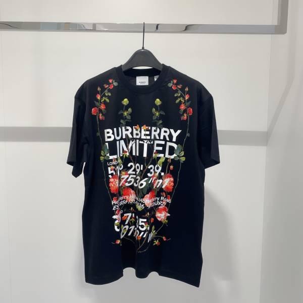 Burberry 中性款剪輯印花棉質寬版 T 恤上衣 黑色  XS/S/M/L