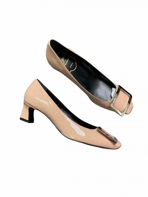 Roger Vivier Belle Vivier 漆皮高跟鞋 4.5 CM高    粉色金釦    IT35/36/37.5