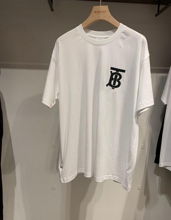 Burberry女款花押字圖案棉質寬版 T 恤上衣  XXS/XS/S