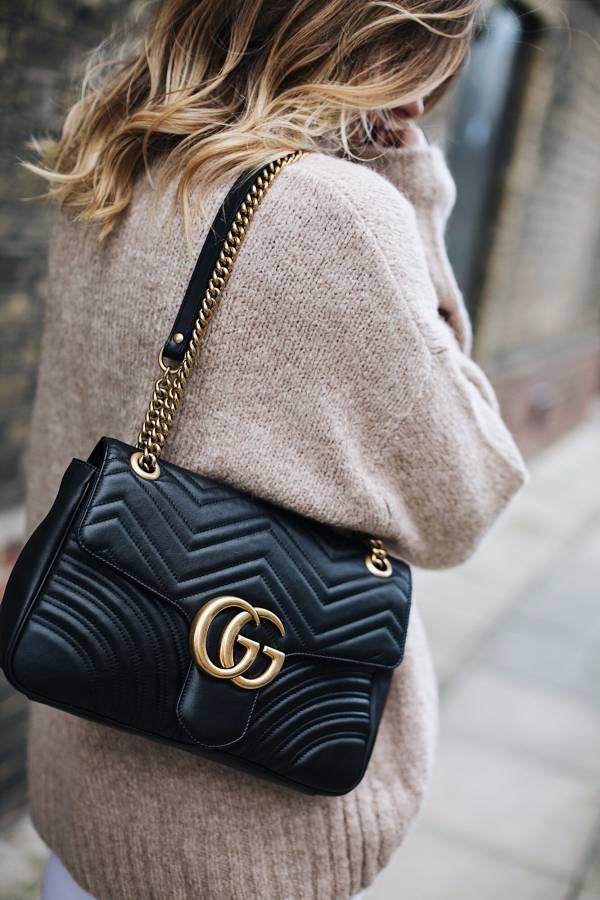 Gucci 443496 GG Marmont 黑色 30 cm  雙G金鍊肩背包