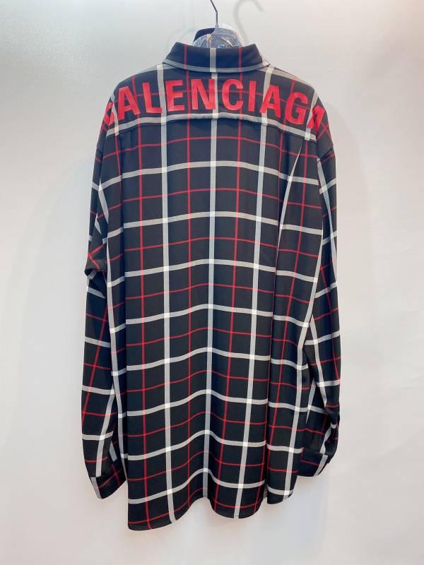 Balenciaga Swing 格紋後背徽標女款襯衫上衣  FR 38 適合M-L