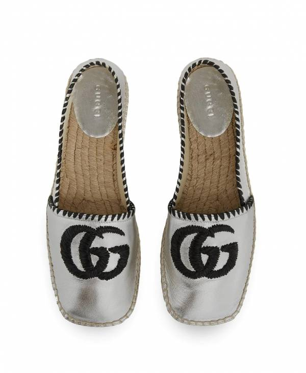 Gucci 女款 銀色皮革草編酒椰 Espadrilles麻底鞋    IT35/35.5/36/37.5/38.5
