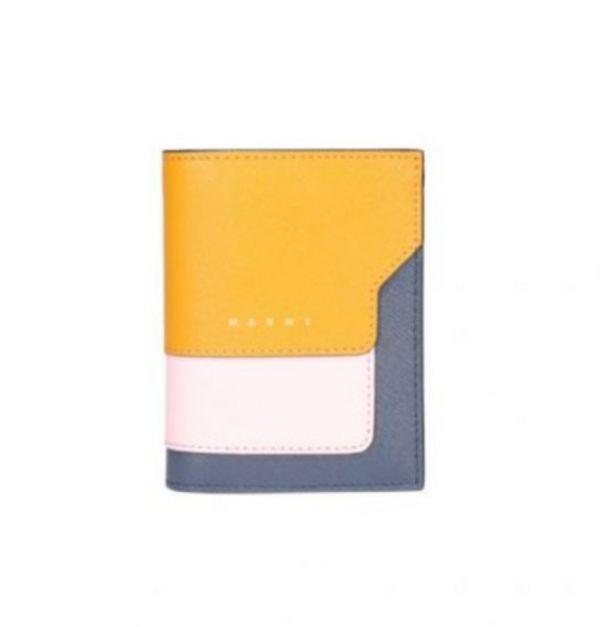 Marni Saffiano耐刮小牛皮對折中短夾  橙色/粉色/藍紫色