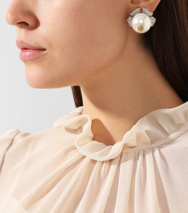 Dolce & Gabanna 珍珠花朵巴洛克夾式耳環