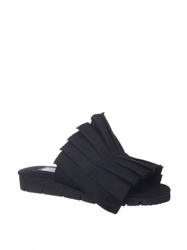 Yohji Yamamoto 山本耀司 女款帆布摺紙效果涼拖鞋 黑色    23.5CM/24CM/24.5CM/25CM