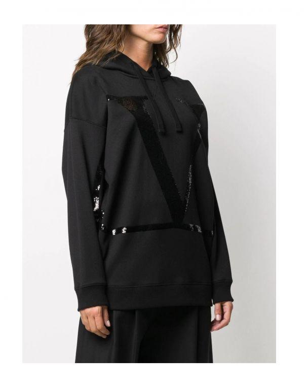 Valentino 女款棉質亮片V Logo連帽上衣 黑色  XS/S/M