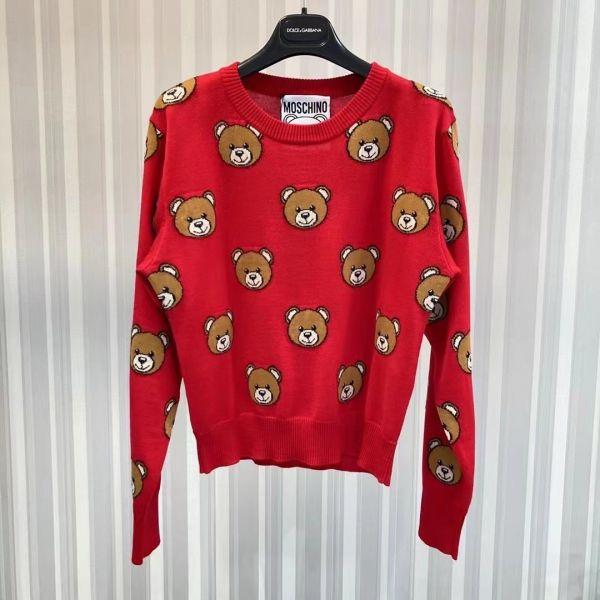 Moschino 女款 Teddy 針織緹花初剪羊毛衣上衣  紅色  38XS/40S/42M/44L