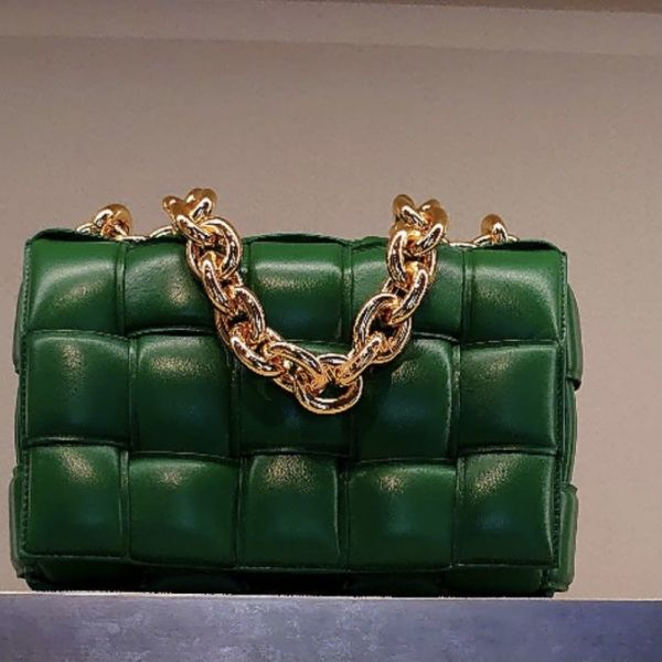 Bottega Veneta Padded Cassette 寬編織澎潤小羊皮金鍊包     賽車綠色