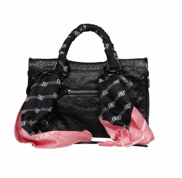 Balenciaga 431621 黑釦 S City 小羊皮飾絲巾機車包    黑色