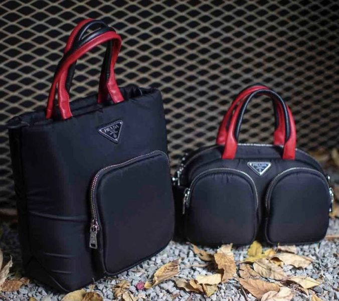 Prada 1BG270 Cargo 倒三角標小款Pocket 2用包   黑/紅 Bottega Veneta