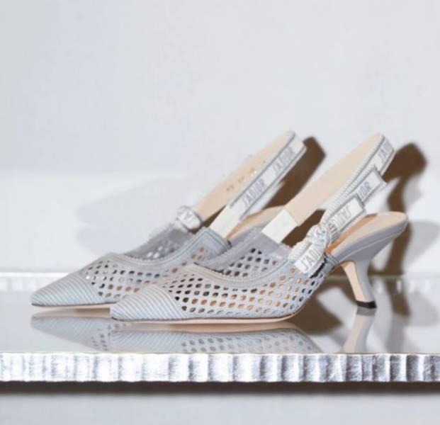 Dior  J'Adior 灰色刺繡露跟高跟鞋    IT 36/36.5/37/37.5/38/38.5/39/39.5/40/40.5/41/41.5 Bottega Veneta