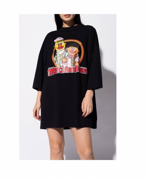 Moschino 女款OS版 芝麻街 ELMO & BERT連身裙/長版上衣  42 適合M-L