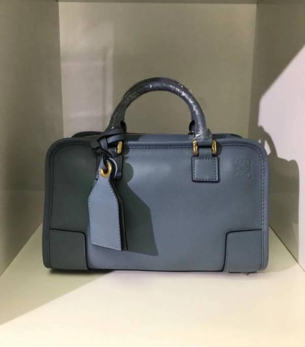 Loewe Amazona 28 新款經典小牛皮兩用提包  石藍色