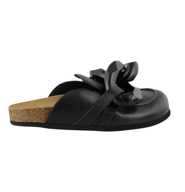 JW Anderson 小牛皮金鍊裝飾女款平底鞋/拖鞋 全黑  IT35/36/37