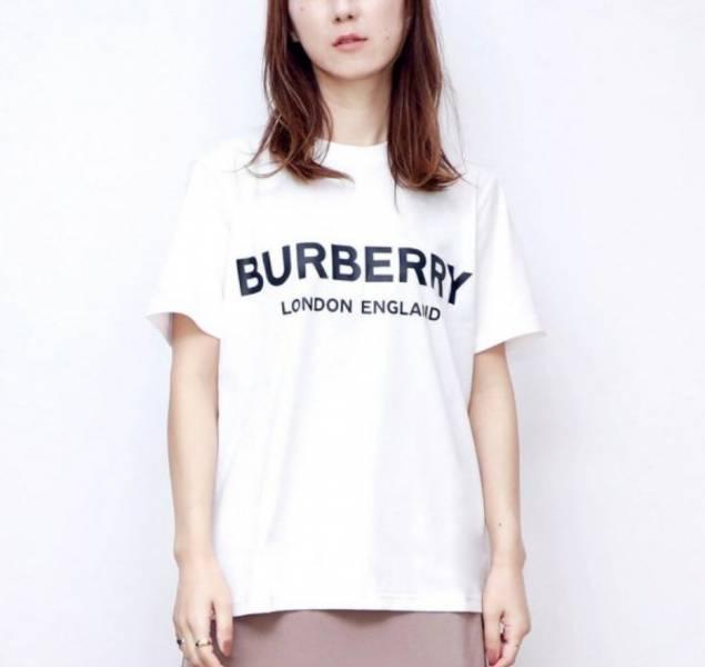 Burberry 女款徽標印花棉質 T 恤上衣 白色  XS/M
