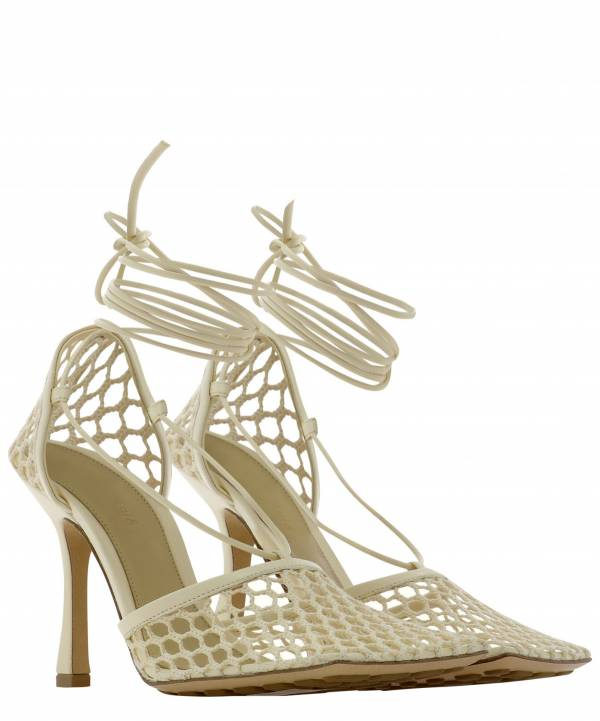 Bottega Veneta  彈性網狀方頭高跟涼鞋9CM高    象牙白     IT 36/36.5/37/38.5