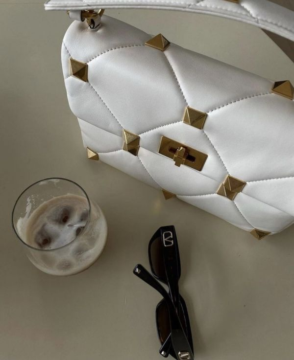 Valentino Roman 羊皮大鉚釘羅馬2用包 白色
