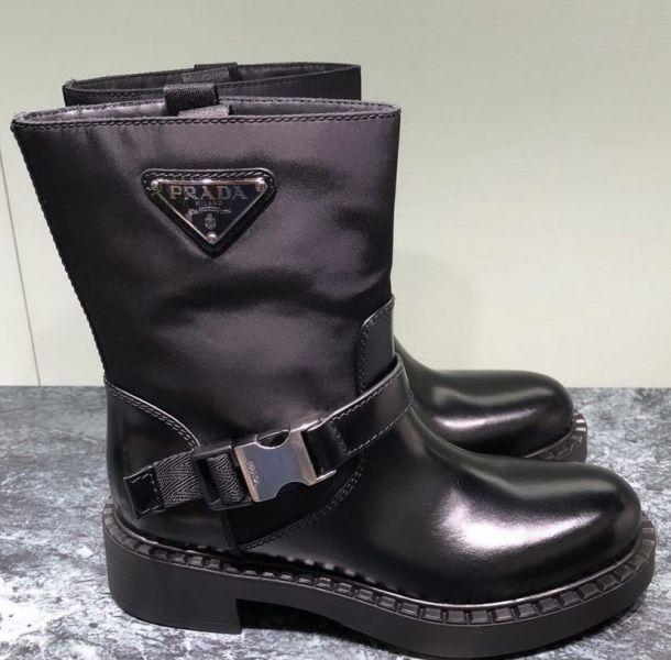 PPrada 女款黑色皮革機車靴    IT 35/35.5/36/36.5/37/37.5/38/38.5