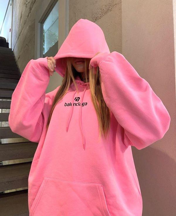Balenciaga Logo Sponsor Over-Sized 棉質連帽運動衫上衣XS/S  粉色