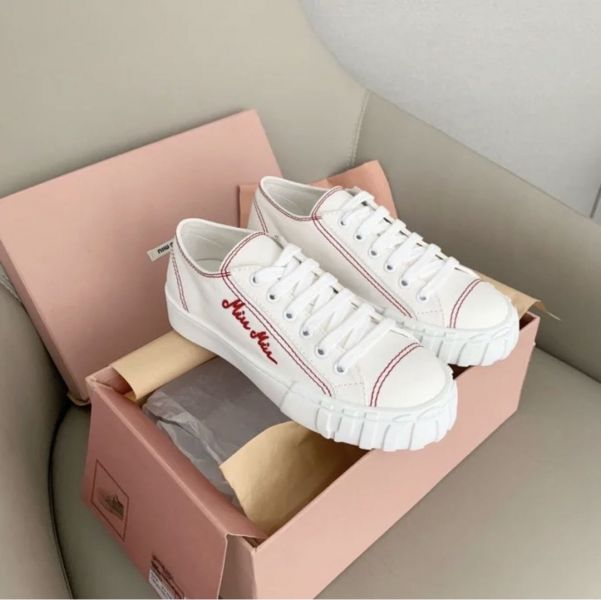 Miu Miu 女款 棉質華達呢高筒運動鞋 白色