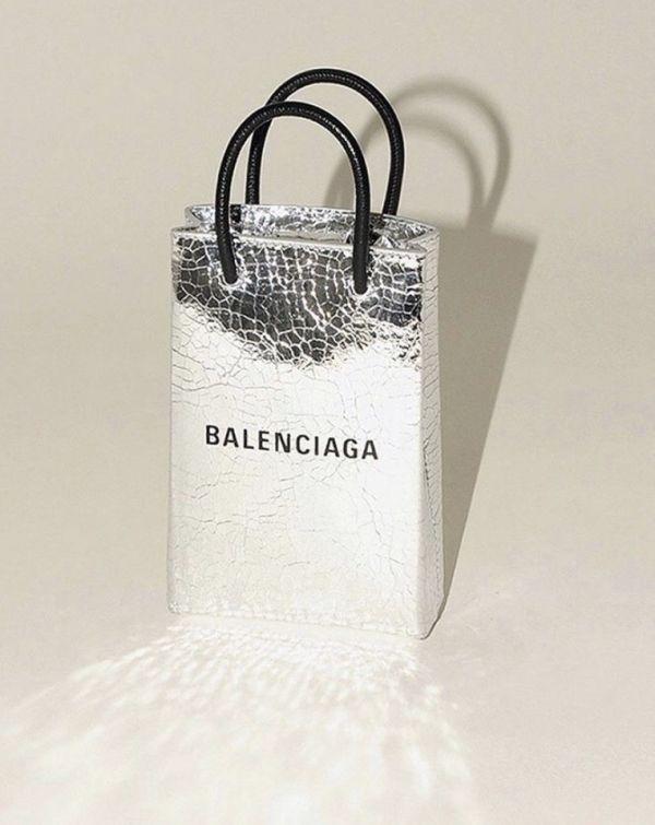 Balenciaga 593826 Shopper Phone 小牛皮銀色迷你肩背包