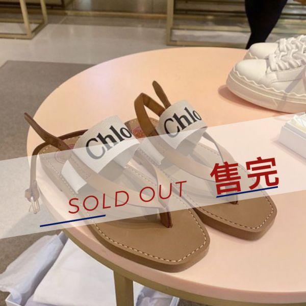 Chloe Woody 人字Logo棉質飾帶涼鞋  IT 36/37/38/39/40