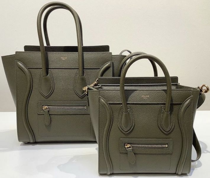 Celine 袖珍型敲打小牛皮 Nano Luggage 可斜背2用包  金釦身橄欖綠