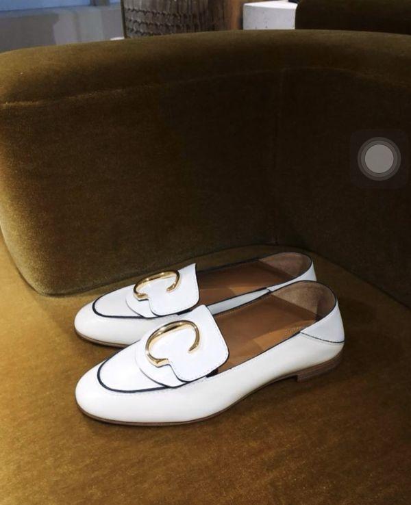 Chloe C 女款小牛皮可踩跟樂福鞋白色      IT35/36/37/37.5/38.5/39