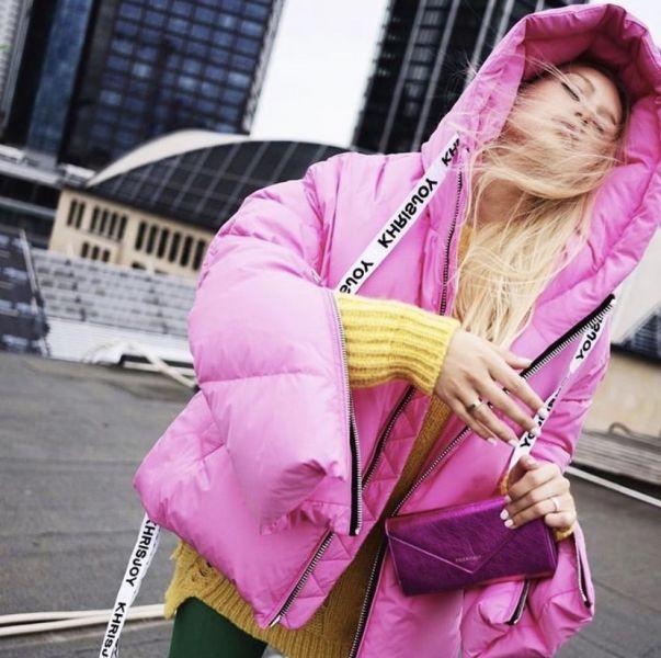 Khrisjoy 女款泡泡糖抽繩羽絨外套 0 XS/ 1 S