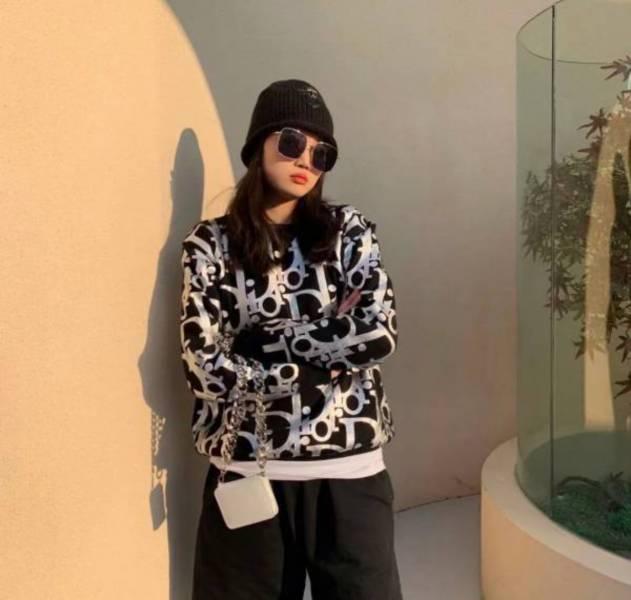 Dior Homme Oblique 中性款  黑色羊毛平織布寬身反光毛線上衣  S/M DIORHOMME