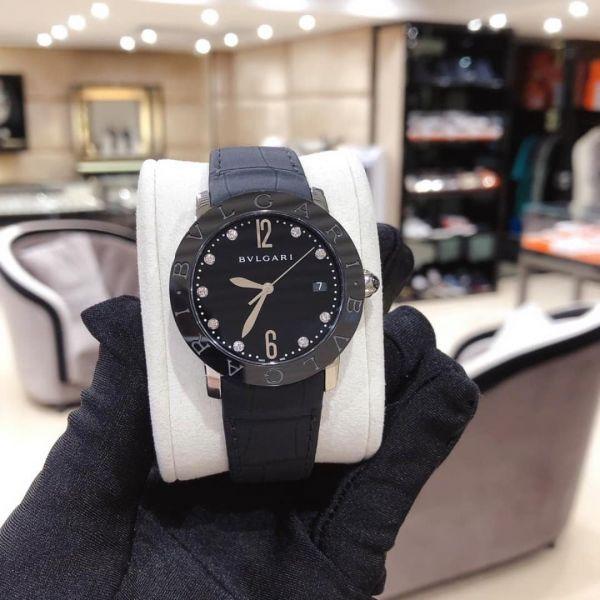 Bvlgari Bvlgari 自動黑色漆面鑽石錶盤女士手錶