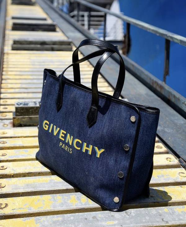 Givenchy 中款 Bond 藍色棉質徽標托特包