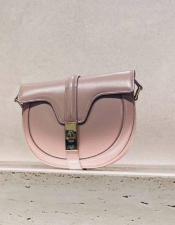 Celine 緞面小牛皮小型 Besace 16 馬鞍斜背包  復古粉紅色