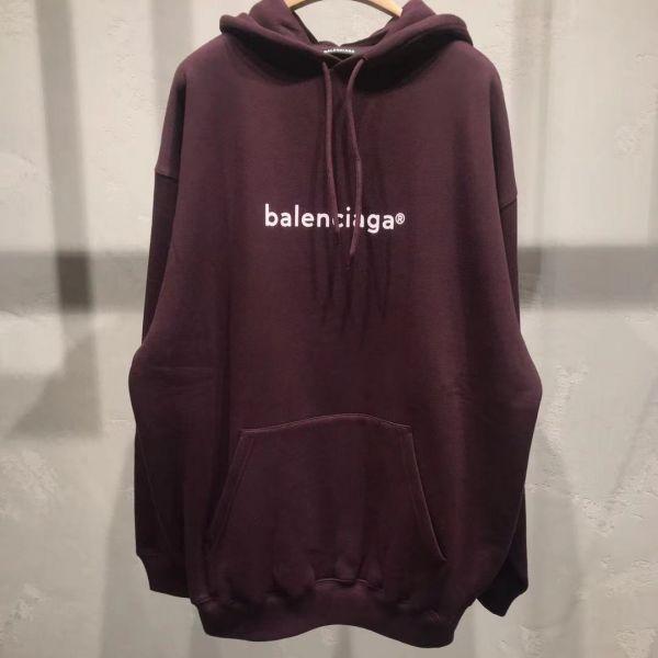 Balenciaga T-Shirt Logo 酒紅色棉質連帽運動衫  XS/S/M/L