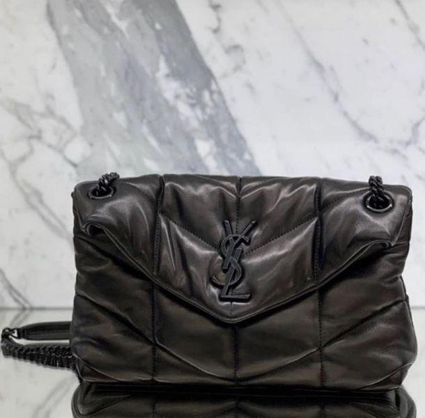Saint Laurent 聖羅蘭 577476 小款 Lou Lou 衍縫小羊皮包   黑色Logo 黑鍊