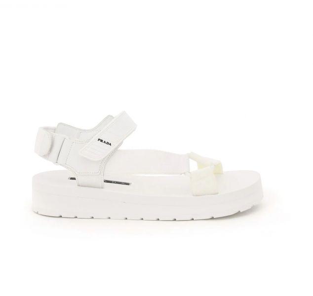 Prada 女款運動風尼龍搭帶涼鞋 白色    IT 36/40 Bottega Veneta