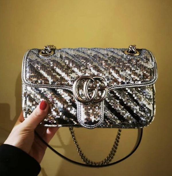 Gucci GG Marmont Mini 446744 限量亮片衍縫兩用包 銀色系