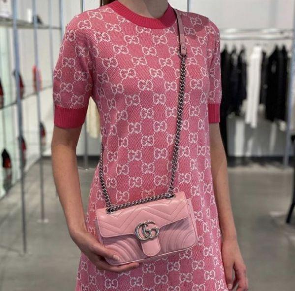 Gucci GG Marmont Mini 446744  22CM 衍縫兩用包 野玫瑰粉色