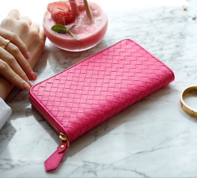Bottega Veneta Intrecciato Nappa 羊皮編織拉鍊長夾  玫瑰粉紅色