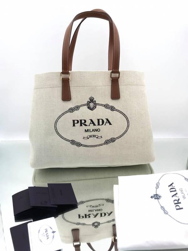 Prada 1BG356 亞麻混紡皮革手提袋托特包