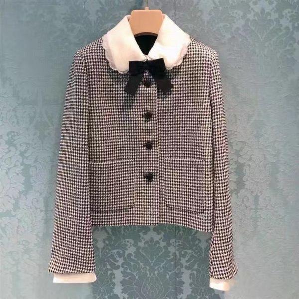 Miu Miu 女款單襟珠片方格紋外套  40 S/ 42 M /44 L
