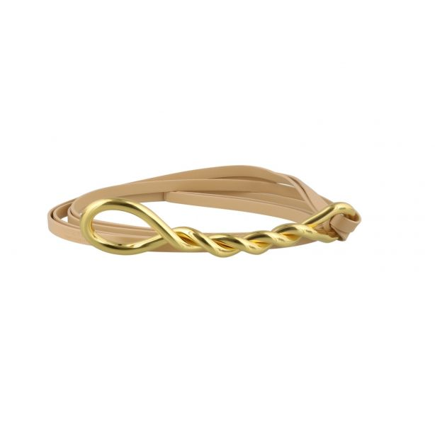 Bottega Veneta 金屬紐結繫帶腰帶 乾燥玫瑰色/金色