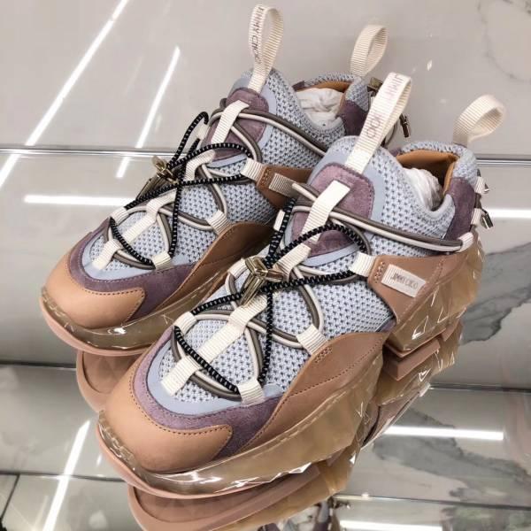Jimmy Choo 粉色小牛皮鑽石方塊跟球鞋    IT 39/40