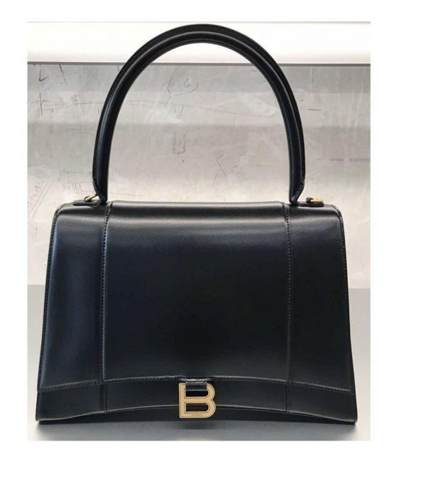 Balenciaga 中款 Hourglass M小牛皮沙漏2用包 黑色