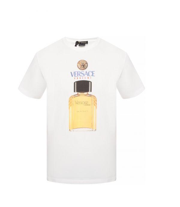 Versace 男款香水瓶印花棉T上衣   S/M/XL