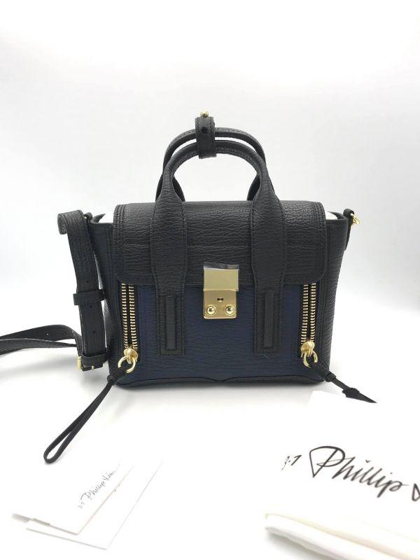 3.1 Phillip Lim Mini 迷你 Pashli 牛皮 2用包   黑色及藍色雙色金釦