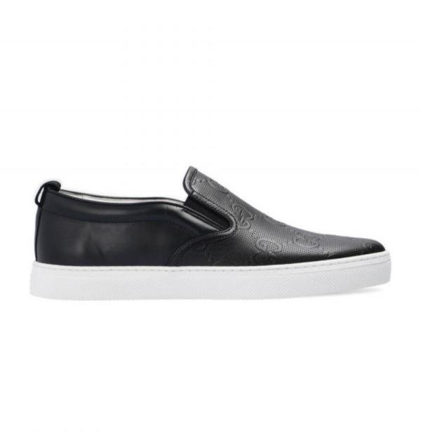 Gucci 男款立體浮雕徽標套穿滑板鞋 黑色  IT 42/44/45